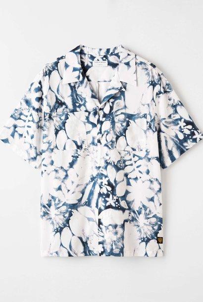 Calumn Bedrukt Overhemd Wit Blauw