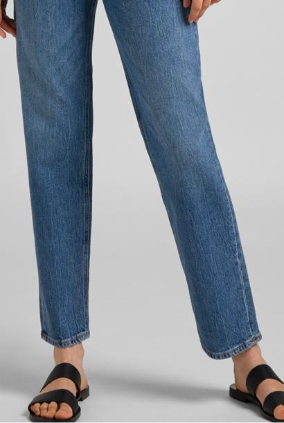 Carol Cropped Straight Organic Blue Jeans