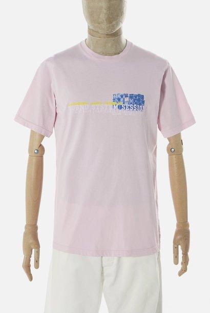 T-shirt van biologisch katoen met print Sound Pink