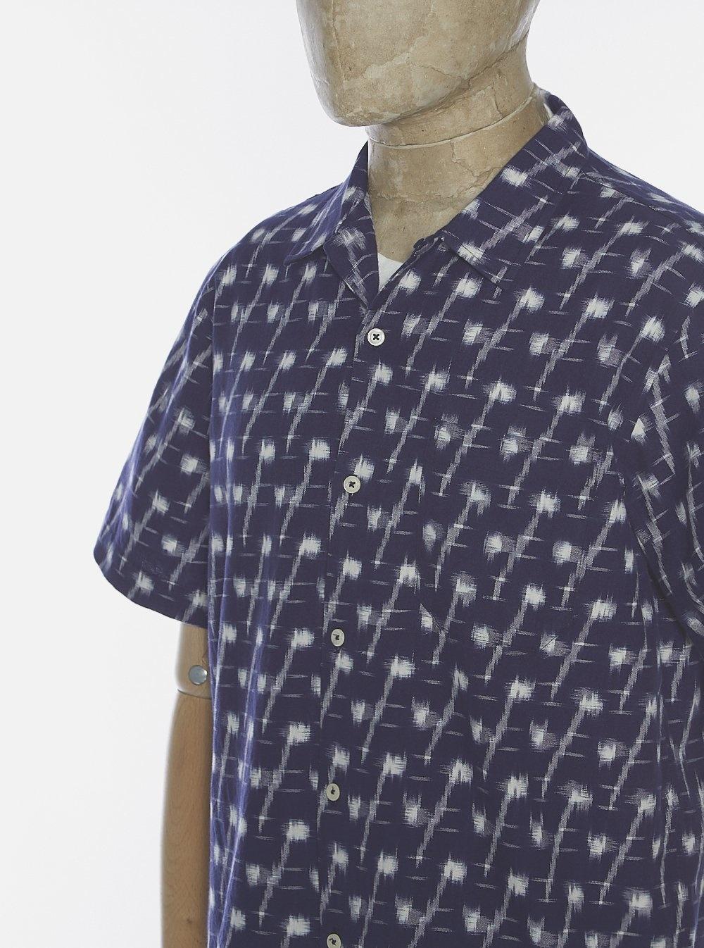 Road Indigo Handgeweven Ikat Denim Shirt-2