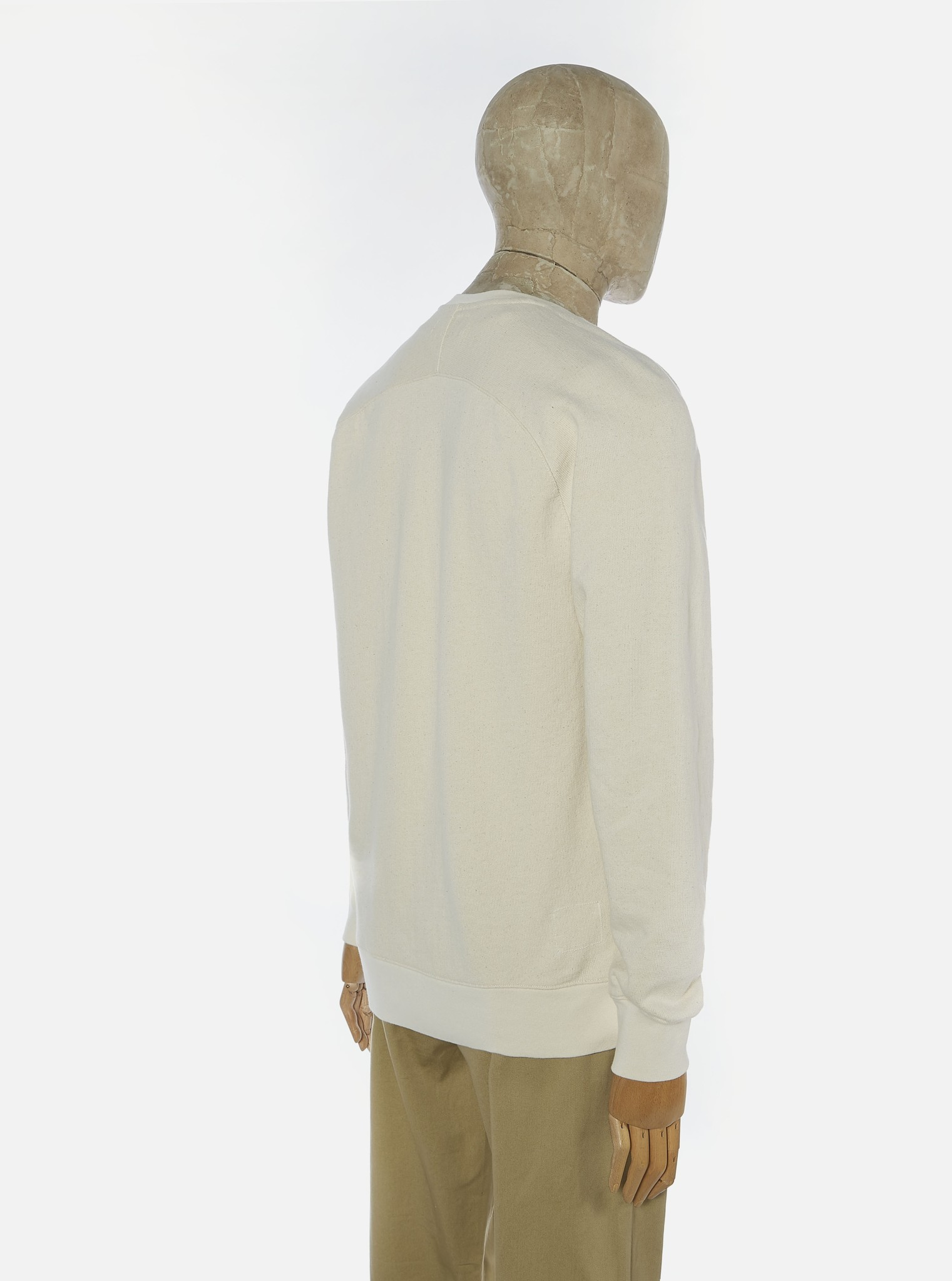 Classic Cotton Crew Sweatshirt Ecru White-3