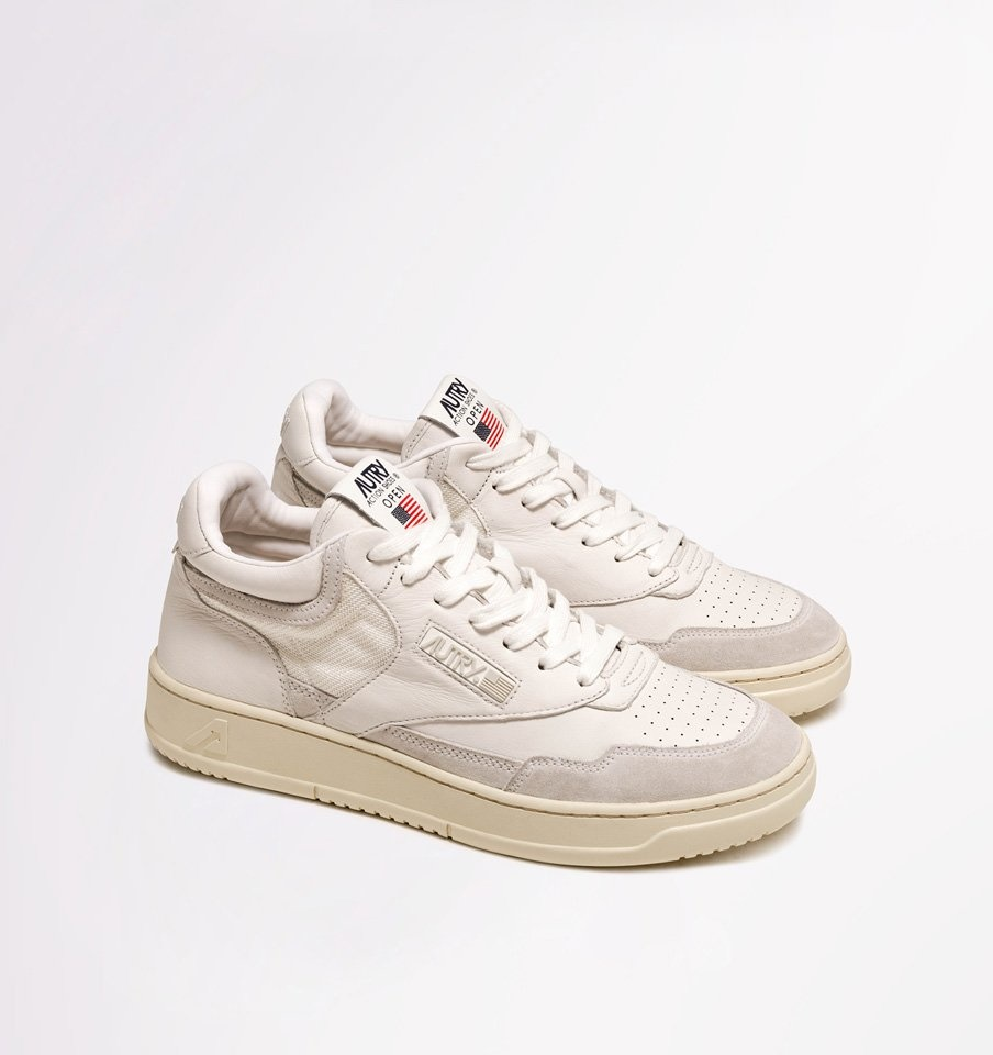 US Open Mid All White Leather Men-3