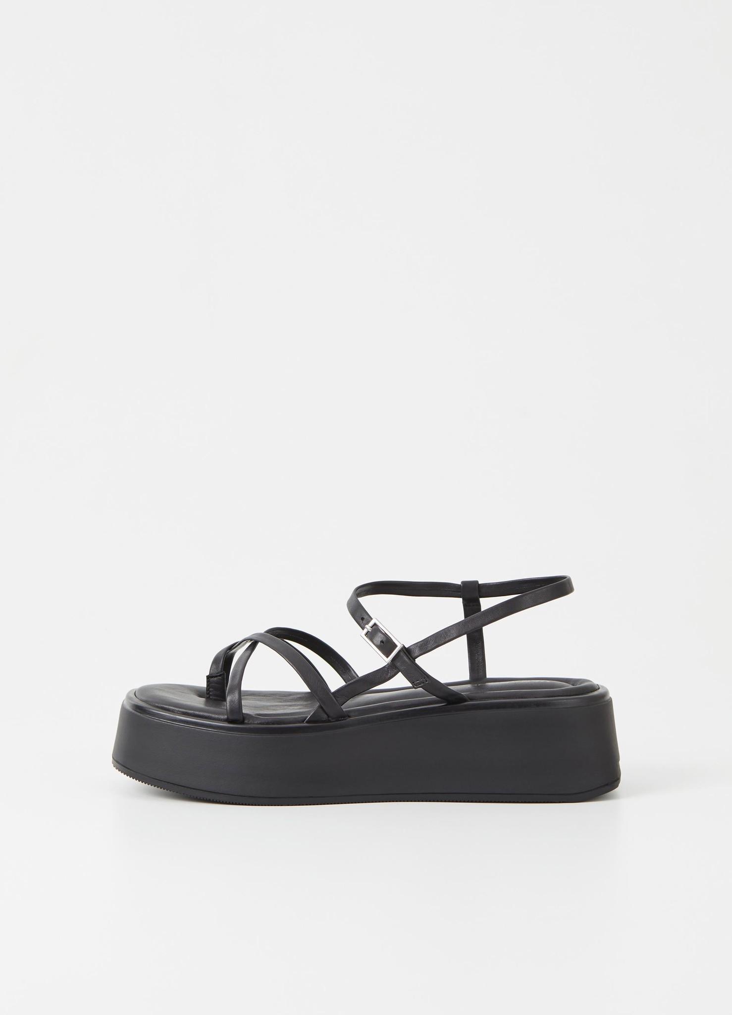 Courtney Black Leather Sandel-1