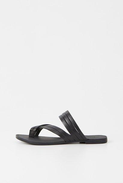 Tia Low Black Leather Sandals