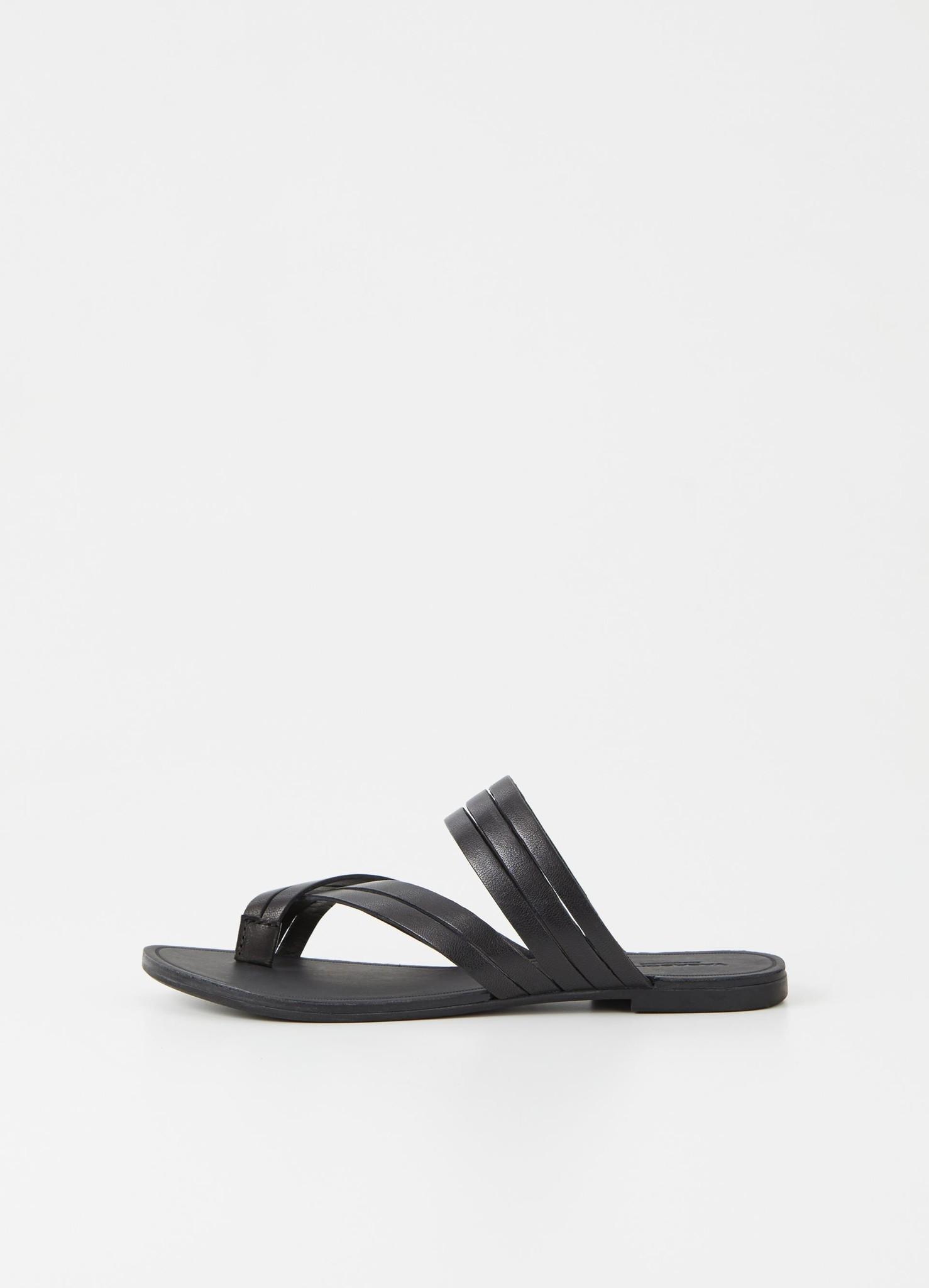 Tia Low Black Leather Sandals-1