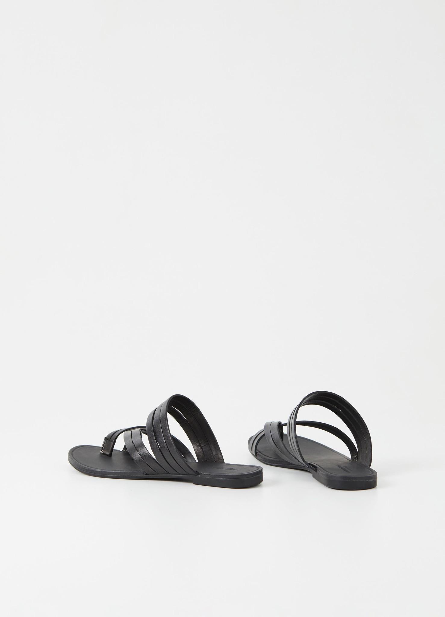 Tia Low Black Leather Sandals-2