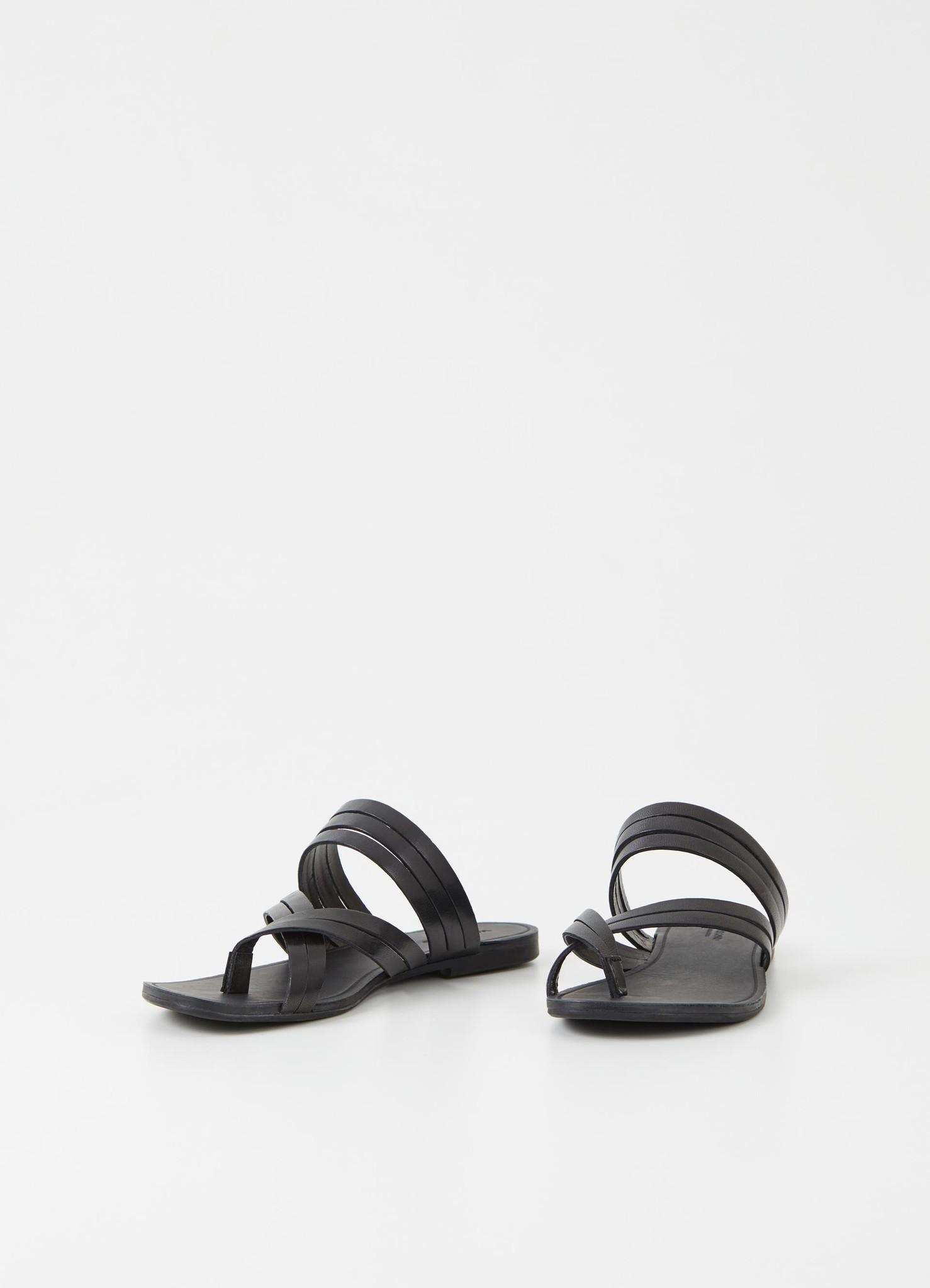 Tia Low Black Leather Sandals-3