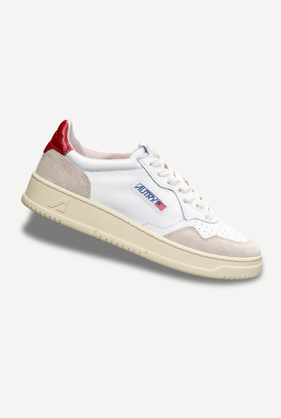 Medalist 01 Low White Red Leather Suede