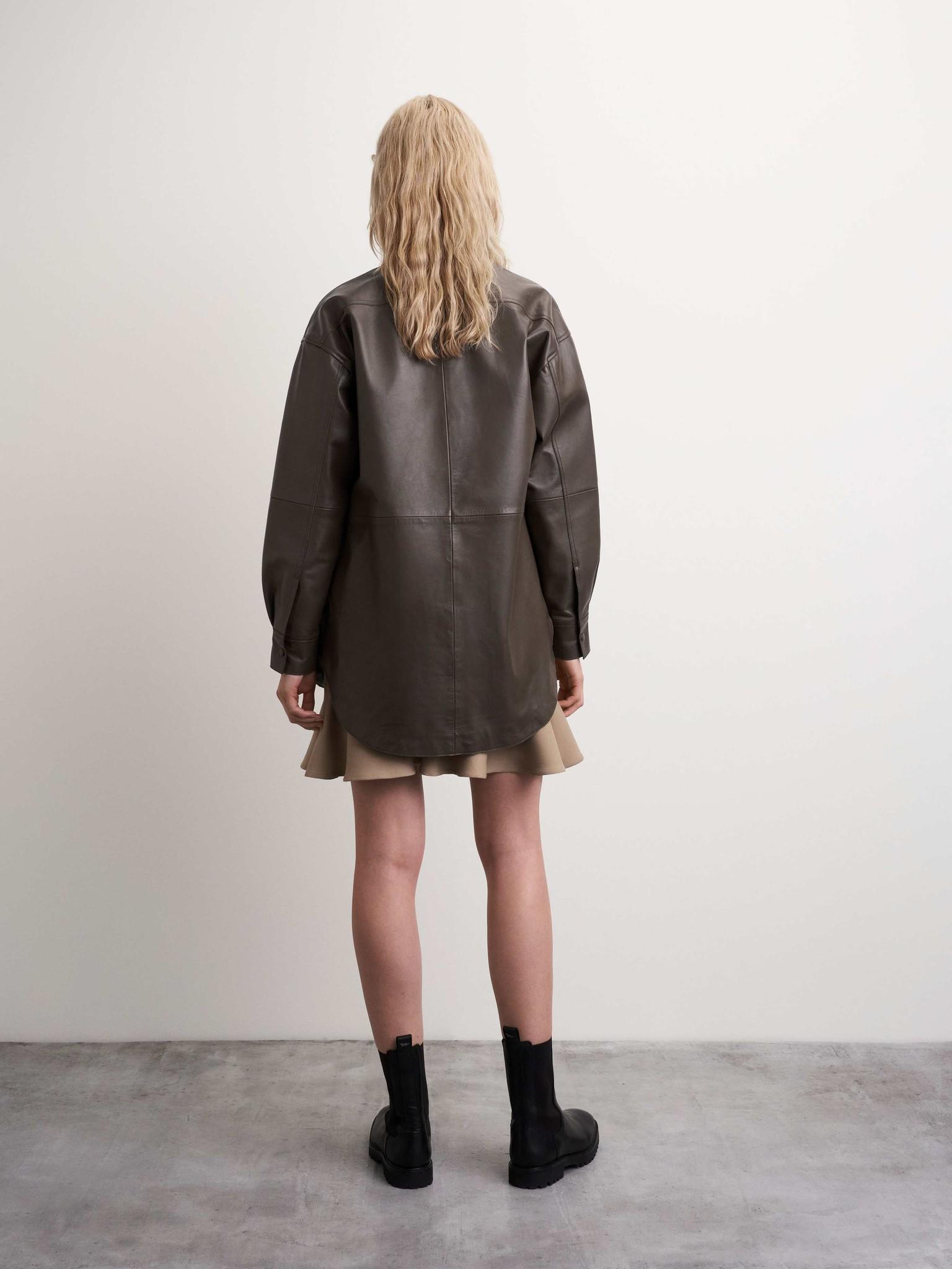 Kinna Leather Shirt Turtle Brown-4