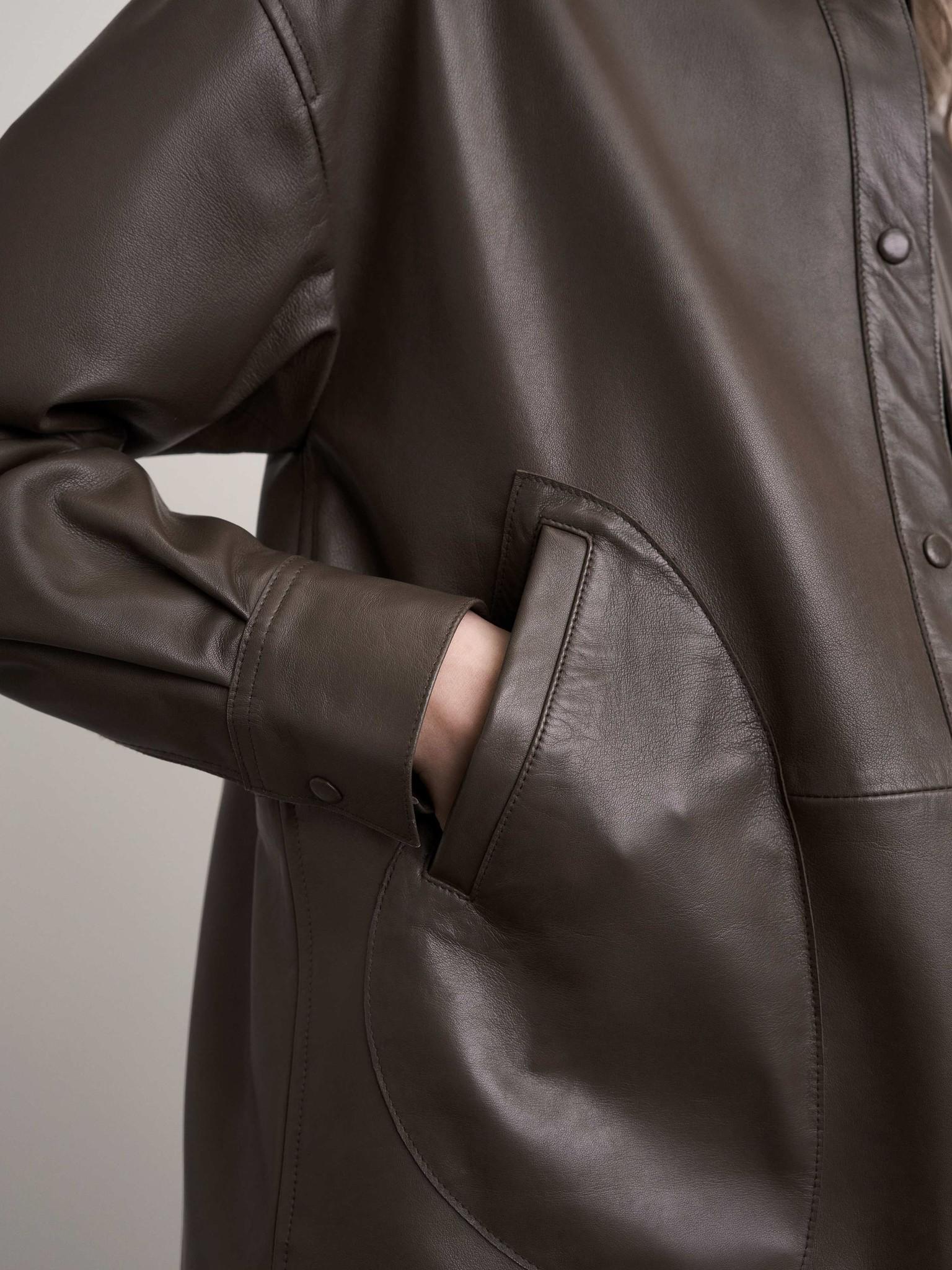 Kinna Leather Shirt Turtle Brown-3
