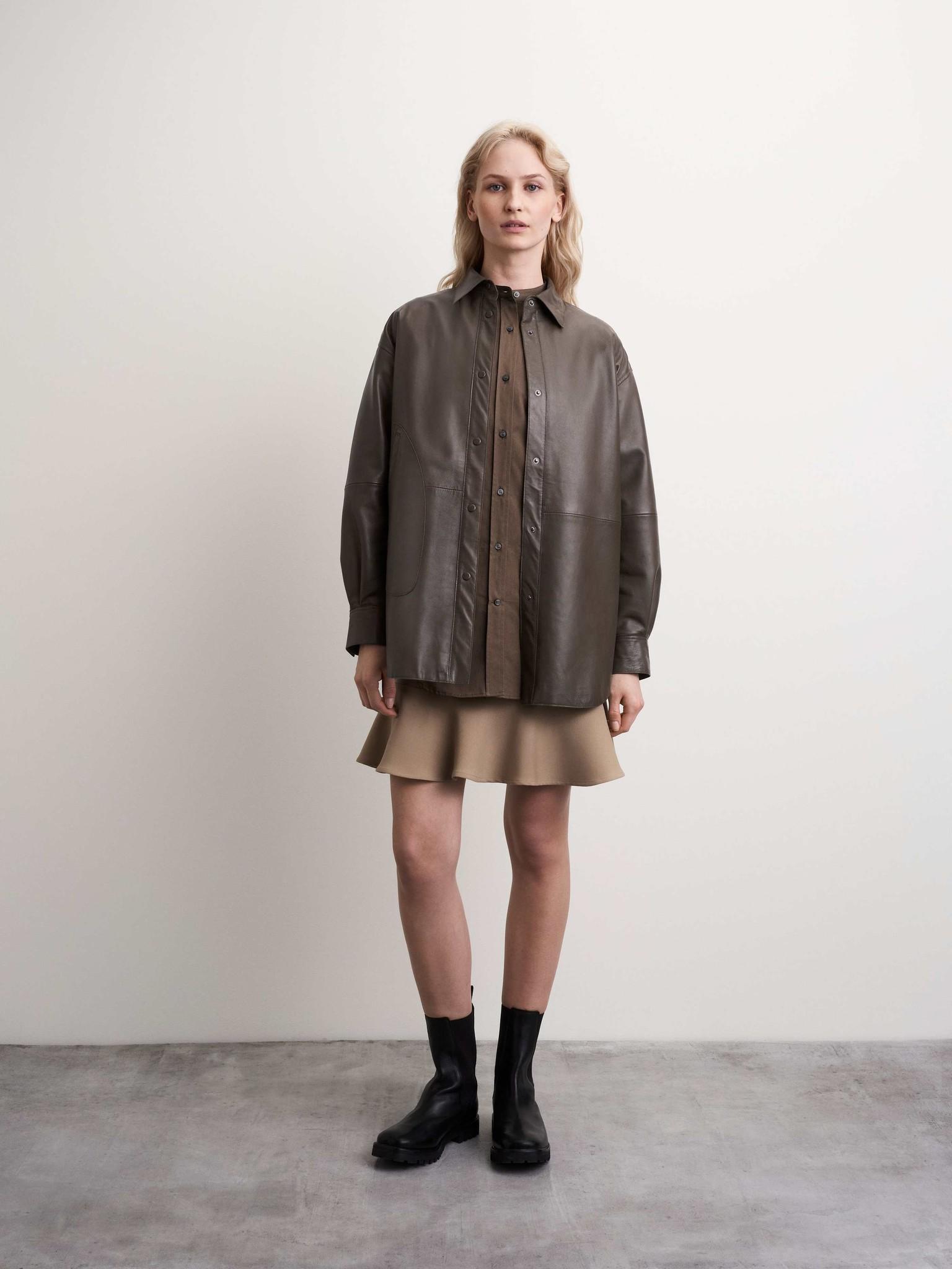 Kinna Leather Shirt Turtle Brown-2