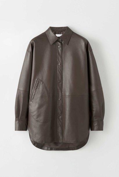 Kinna Leather Shirt Turtle Brown