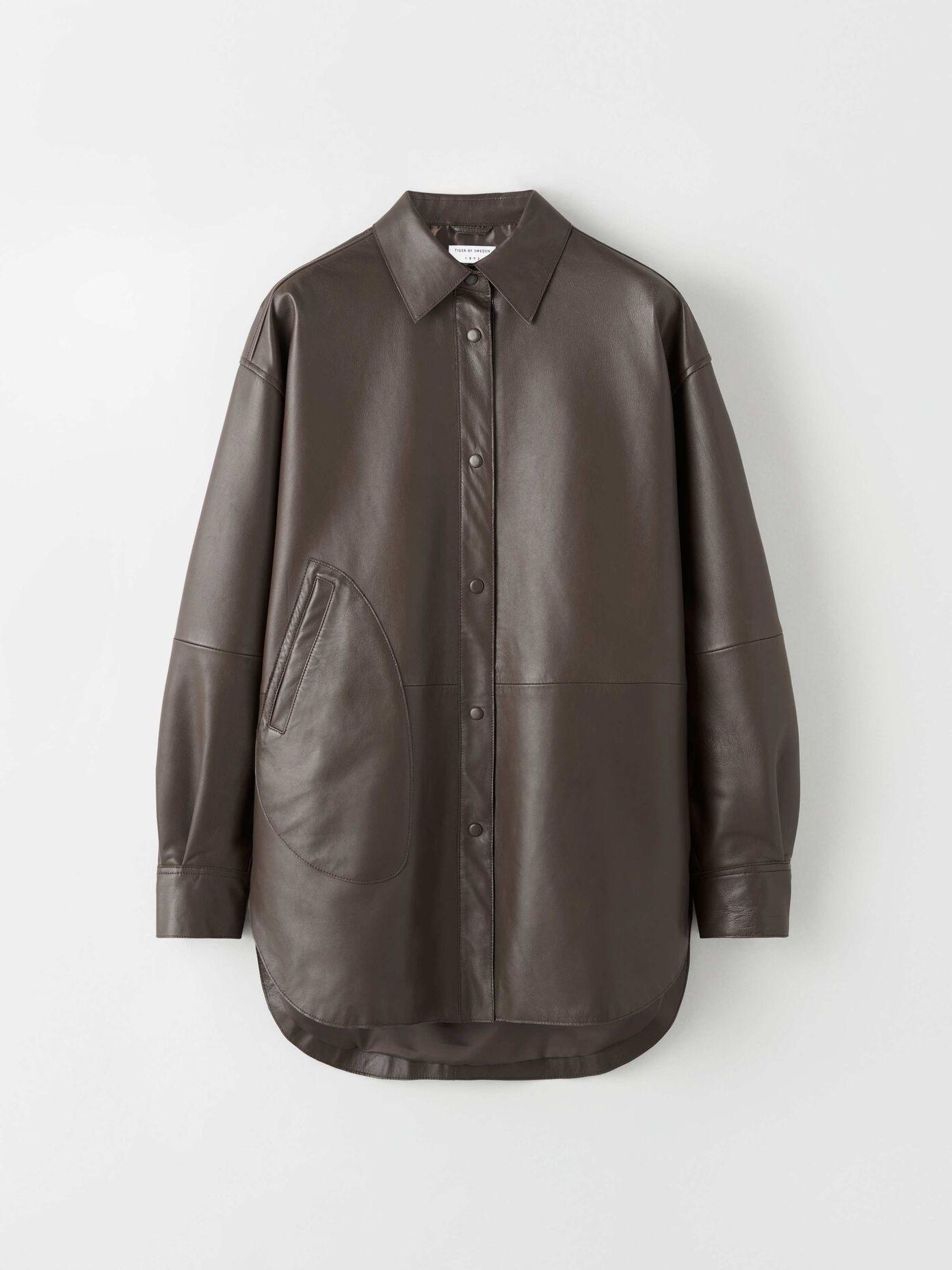 Kinna Leather Shirt Turtle Brown-1