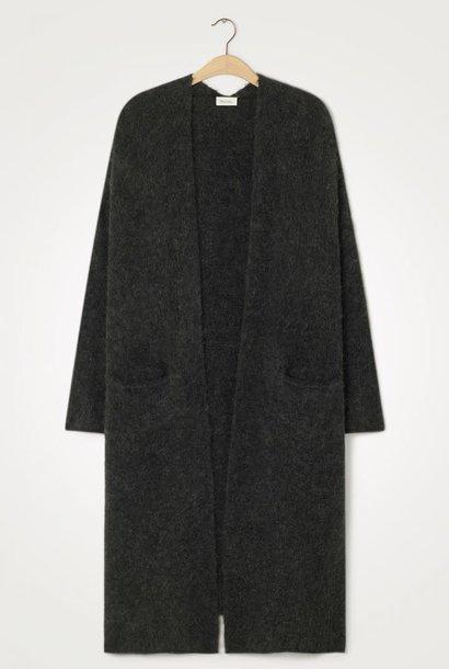 East Long Wool Cardigan Black