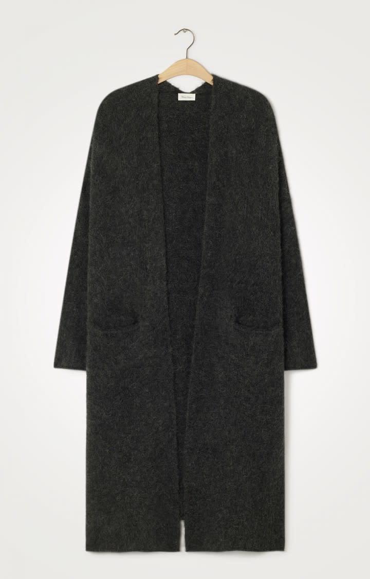 East Long Wool Cardigan Black-1