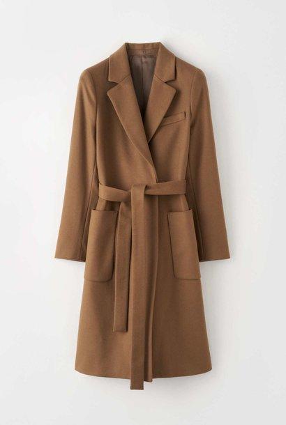Rimini Long Wool Cashmere Coat Brown