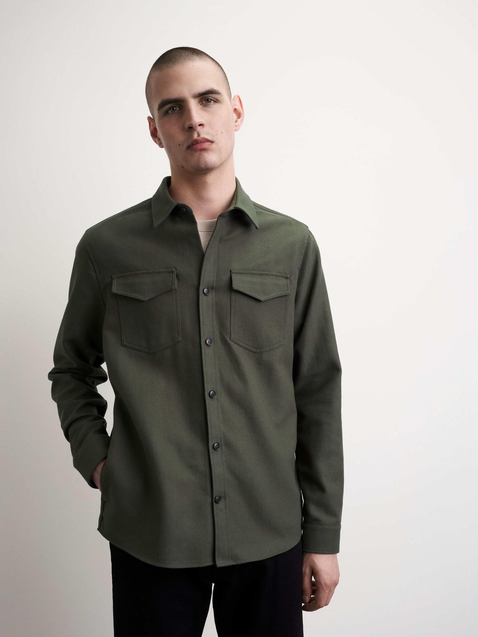 Arnou P Herringbone Overshirt Green-2