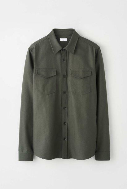 Arnou P Herringbone Overshirt Green