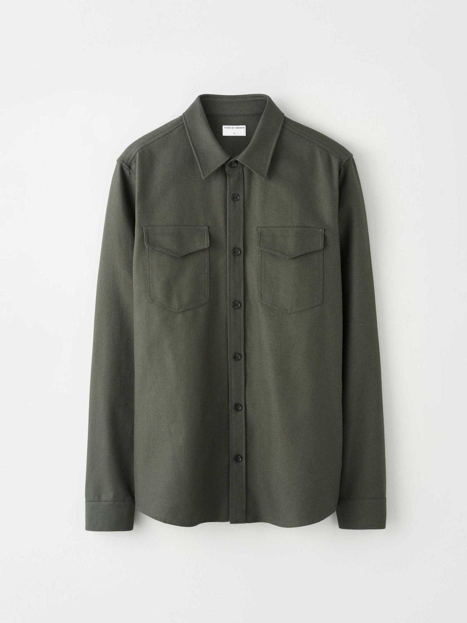Arnou P Herringbone Overshirt Green-1