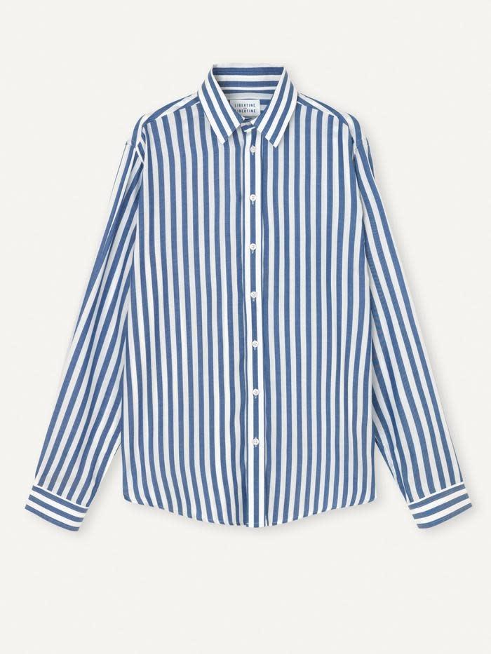 Babylon Blauw Wit Gestreept Overhemd-1