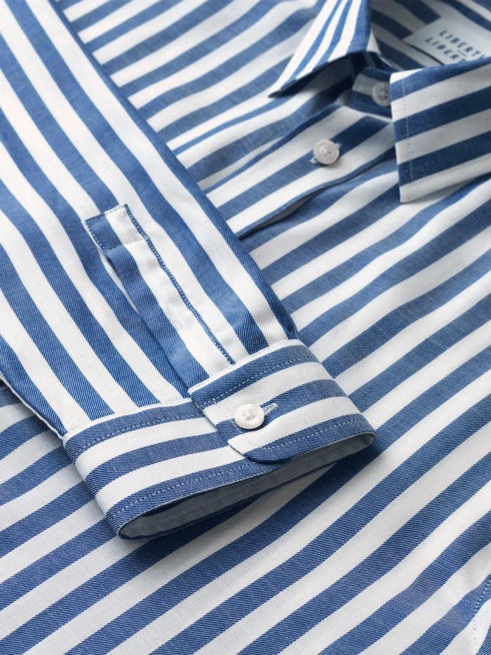 Babylon Blauw Wit Gestreept Overhemd-2