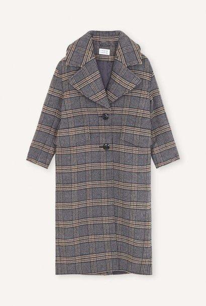 Version Navy Checker Wool Coat