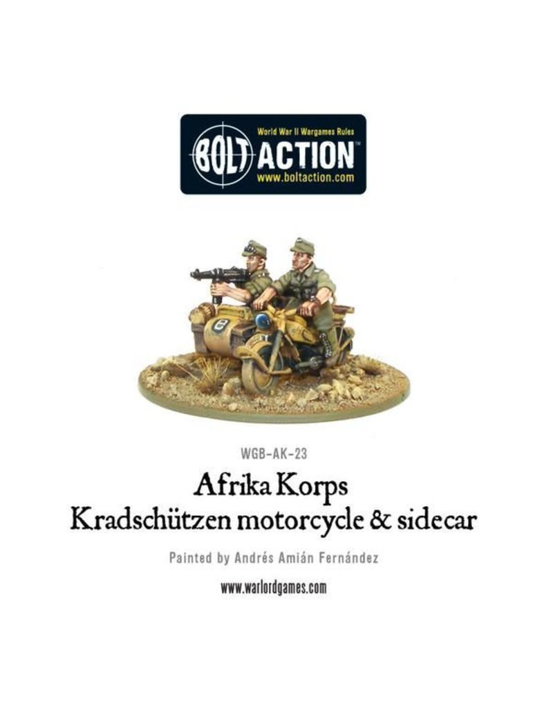 Warlord Games German Afrika Korps Kradschutzen motorcycle and sidecar