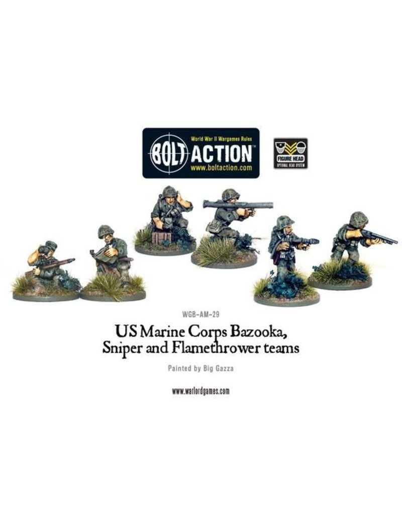 Warlord Games US Army Marine Corps Bazooka, Sniper & Flame Thrower Teams
