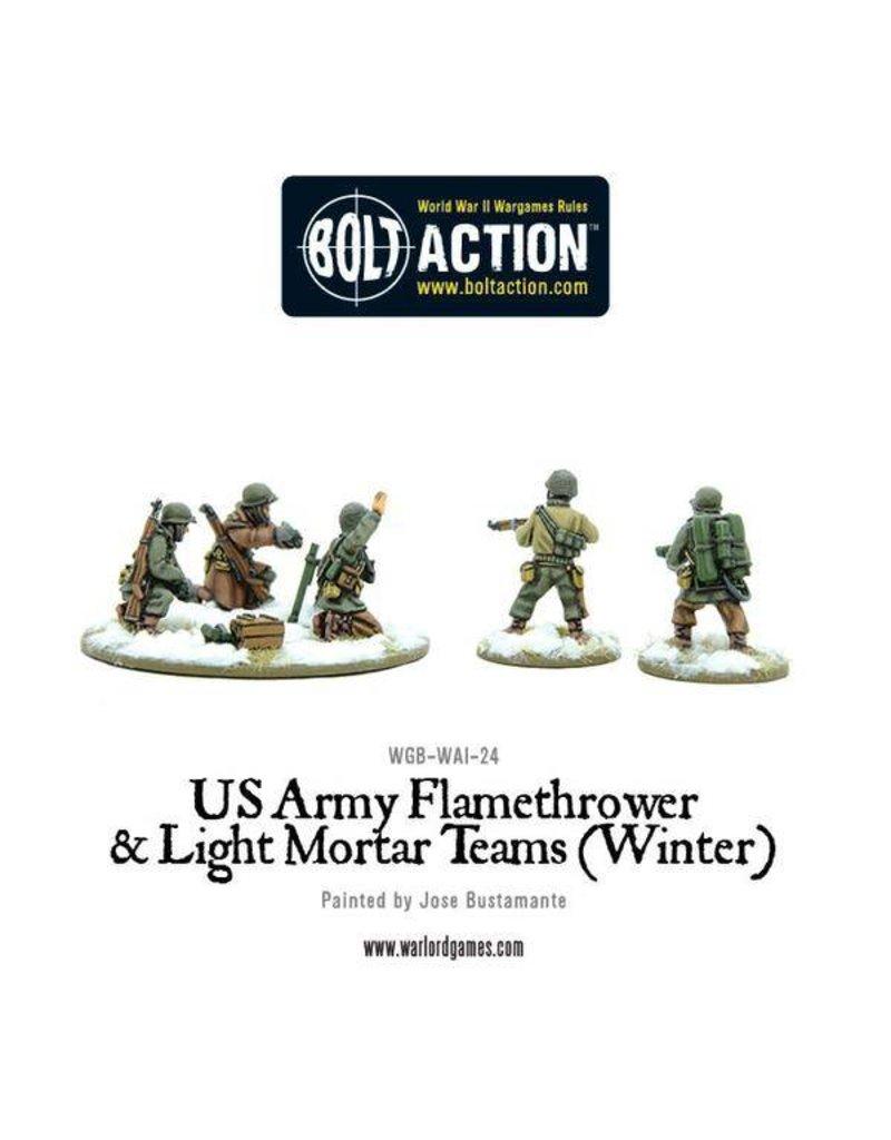 Warlord Games US Army Flamethrower & Light Mortar teams (Winter)