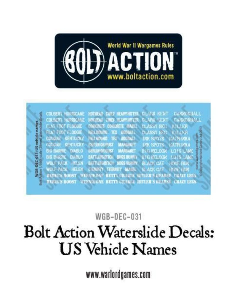 Warlord Games US Army Vehicle Decals