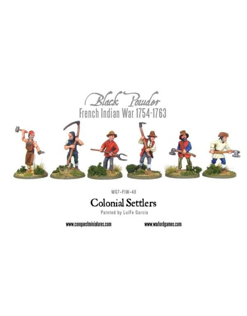 Warlord Games French Indian War 1754-1763 Colonial Settlers Pack