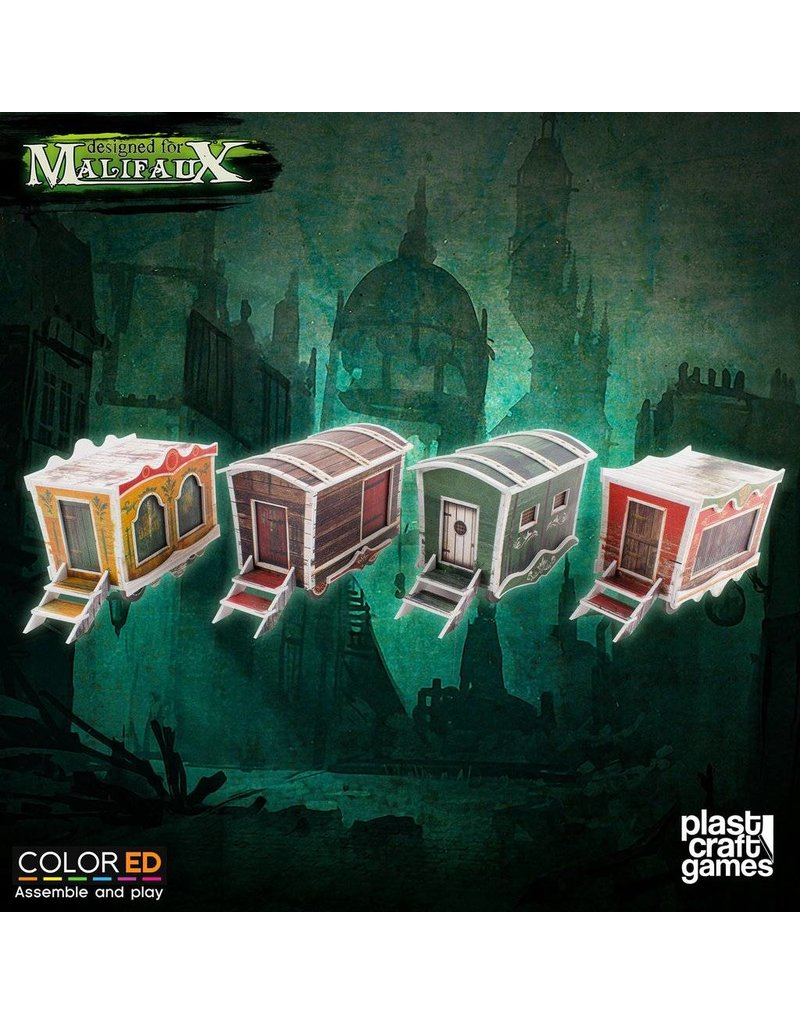Plastcraft Dark-Carnival Circus Wagons Set (4 x pre-painted)
