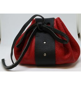 Goblin Gaming Leather Dice Bag - Red/Black