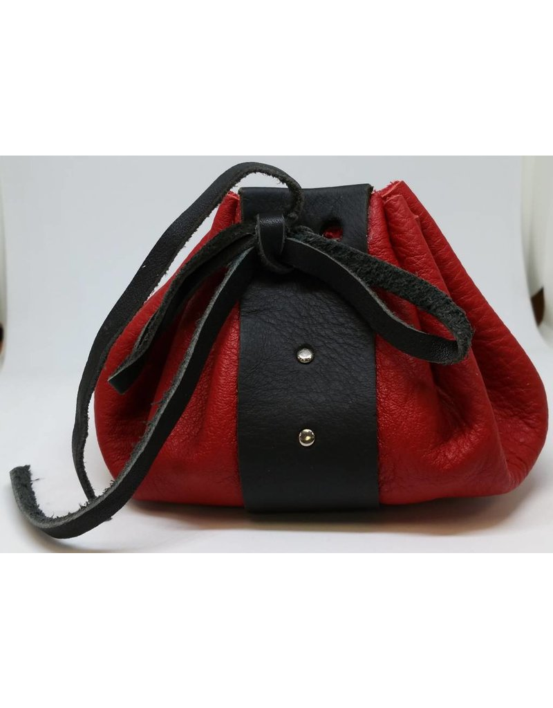 Goblin Gaming Hand-crafted Leather Dice Bag - Red/Black