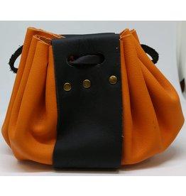 Goblin Gaming Leather Dice Bag - Orange/Black