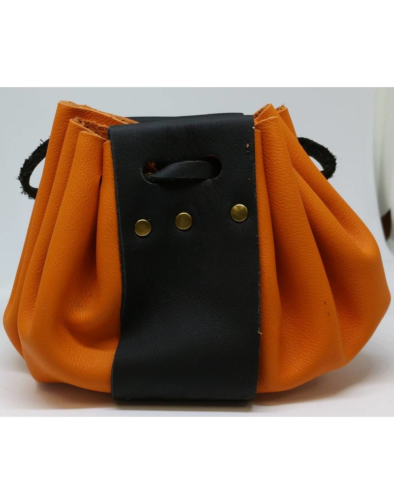 Goblin Gaming Hand-crafted Leather Dice Bag - Orange/Black