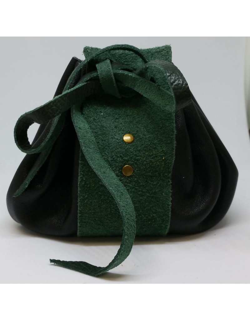 Goblin Gaming Hand-crafted Leather Dice Bag - Black/Green