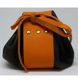 Goblin Gaming Leather Dice Bag - Brown/Orange
