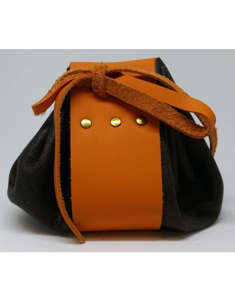 Goblin Gaming Hand-crafted Leather Dice Bag - Brown/Orange