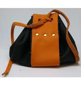 Goblin Gaming Leather Dice Bag - Black/Orange