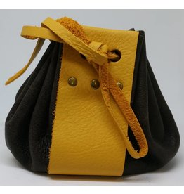 Goblin Gaming Leather Dice Bag - Brown/Yellow