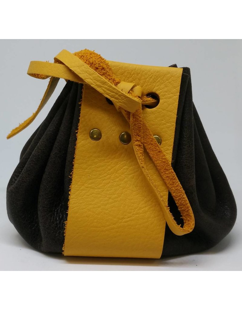 Goblin Gaming Hand-crafted Leather Dice Bag - Brown/Yellow