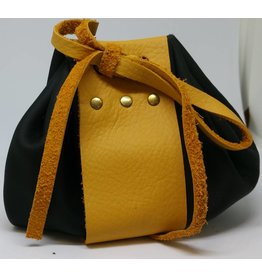 Goblin Gaming Leather Dice Bag - Black/Yellow