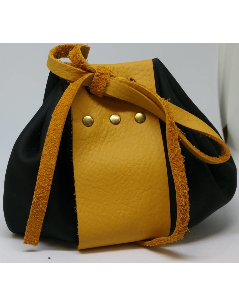 Goblin Gaming Hand-crafted Leather Dice Bag - Black/Yellow