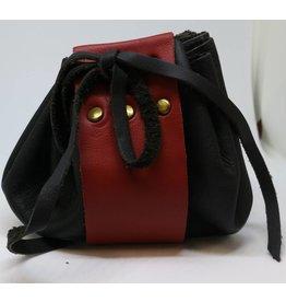 Goblin Gaming Leather Dice Bag - Black/Crimson