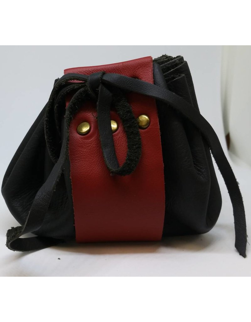 Goblin Gaming Hand-crafted Leather Dice Bag - Black/Crimson