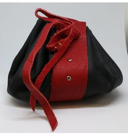 Goblin Gaming Leather Dice Bag - Black/Red
