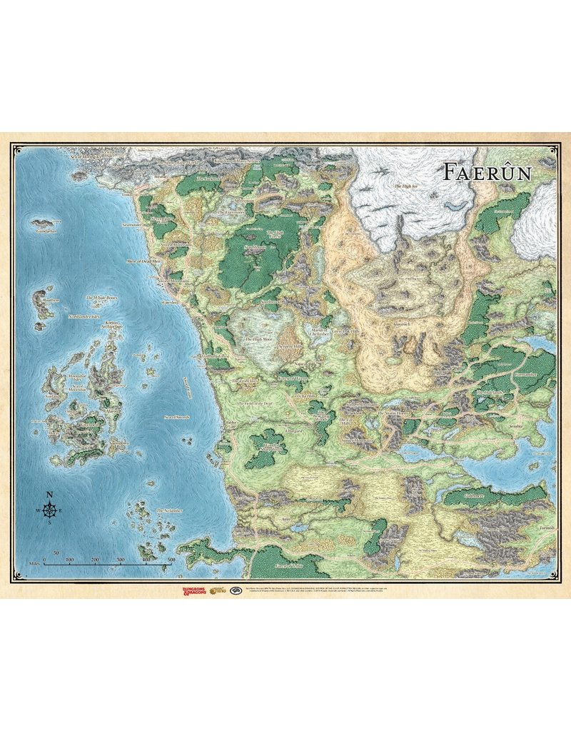 """Gale Force 9 """"Faerun"""" - Realm and Sword Coast Map (27"""" x 32"""")"""