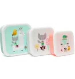 Petit Monkey lama & friends lunchbox set