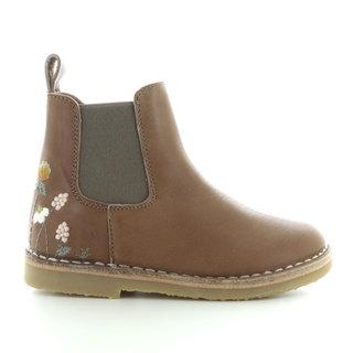 uniqua flower ankle boot latte
